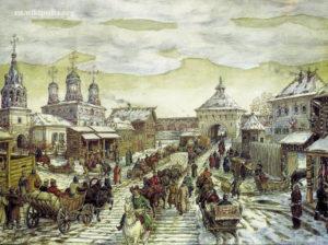 Васнецов, У Мясницких ворот Белого города в XVII веке